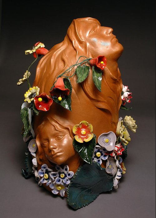 Mica Greeting Card featuring the ceramic art In My Fathers Garden by Vilis
