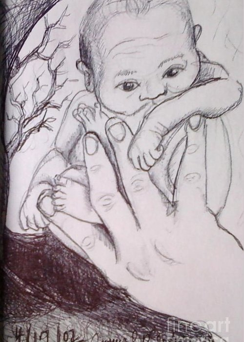 Newborn Baby Drawing Greeting Card featuring the drawing In My Father's Hand by Jamey Balester
