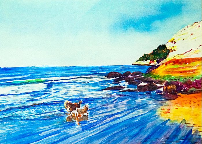 Seascape Greeting Card featuring the painting In Paradise Of Dogs by Aymeric NOA