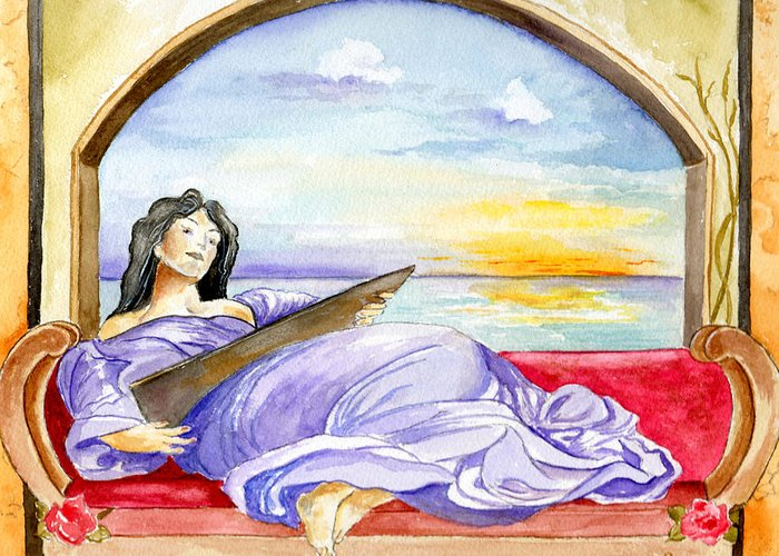 Landscape Woman Romantic Figure Window Sea Sky Greeting Card featuring the painting In Paradisum by Brenda Owen