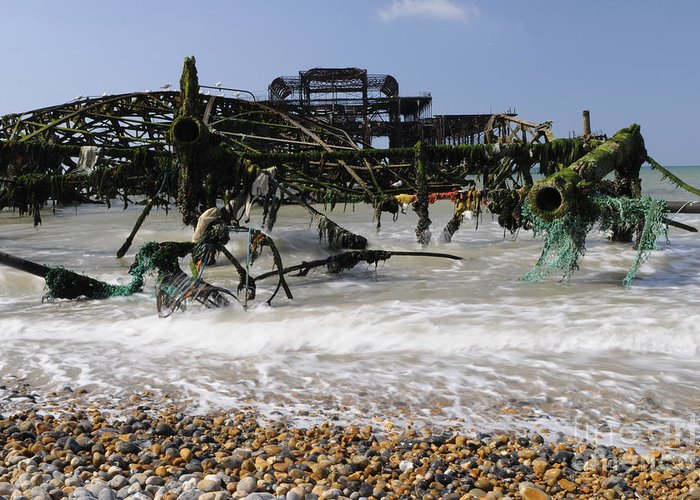 West Pier Greeting Card featuring the photograph In Pieces by Smart Aviation