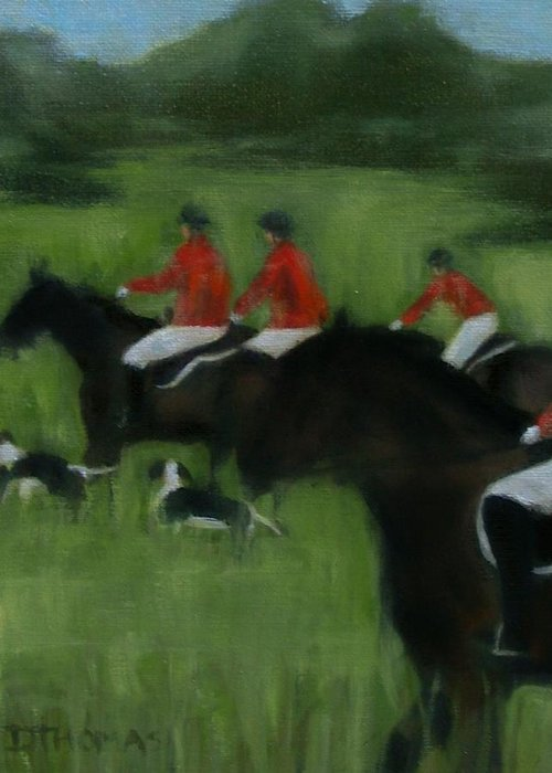 Horse Greeting Card featuring the painting In Pursuit by Donna Thomas