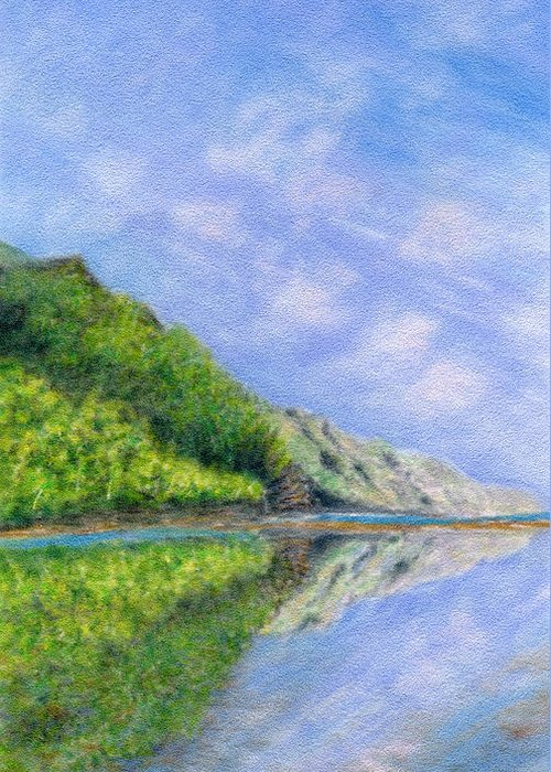 Rainbow Colors Pastel Greeting Card featuring the painting In Reflection by Kenneth Grzesik