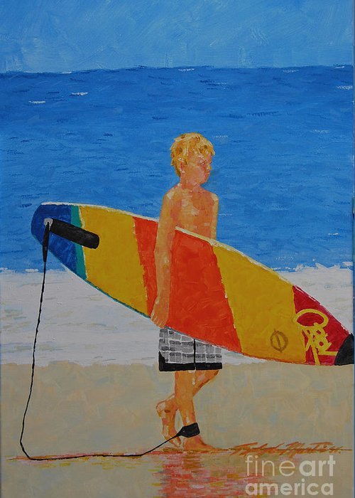 Beach Art Greeting Card featuring the painting In Search Of A Ride by Art Mantia