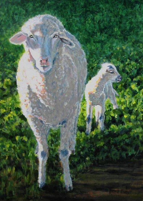 Sheep Greeting Card featuring the painting In Sheep's Clothing by Karen Ilari