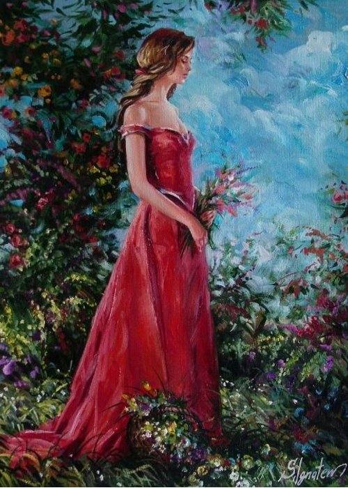 Figurative Greeting Card featuring the painting In Summer Garden by Sergey Ignatenko