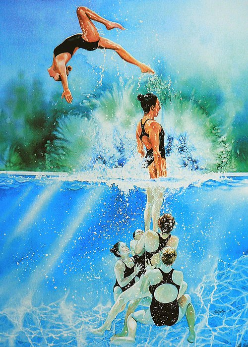 Swimming Greeting Card featuring the painting In Sync by Hanne Lore Koehler