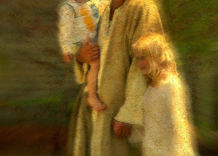 Jesus Greeting Card featuring the painting In The Arms Of His Love by Greg Olsen