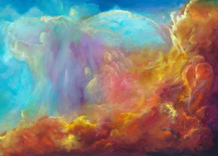 Celestial Greeting Card featuring the painting In The Beginning by Sally Seago