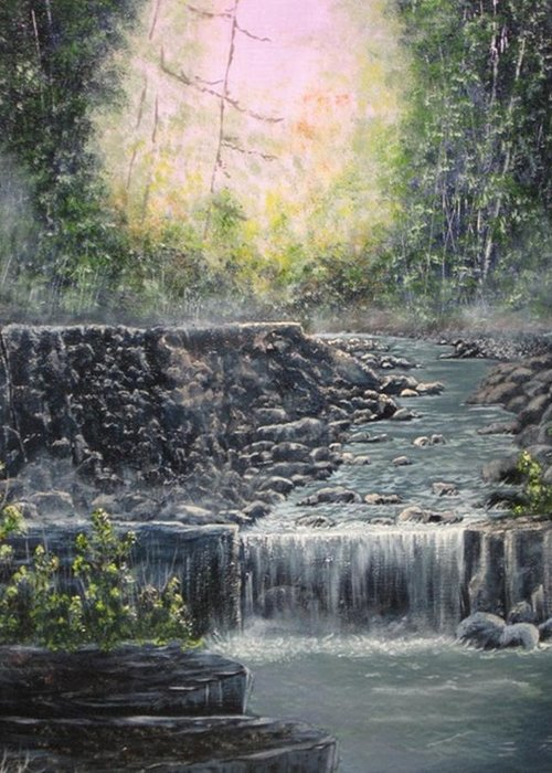 Landscape Greeting Card featuring the painting In The Beginning by Sheila Banga