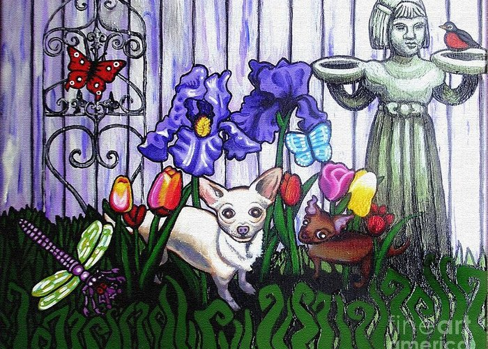 Dog Greeting Card featuring the painting In The Chihuahua Garden Of Good And Evil by Genevieve Esson