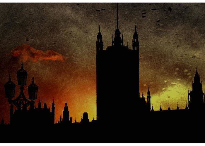 Westminster Palace Greeting Card featuring the digital art In The Dark by Luigi Petro