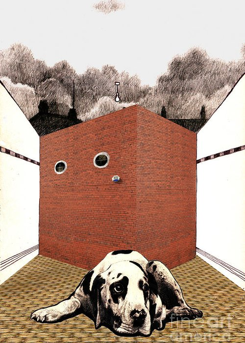 Brick Greeting Card featuring the digital art In The Dog House by Andy Mercer