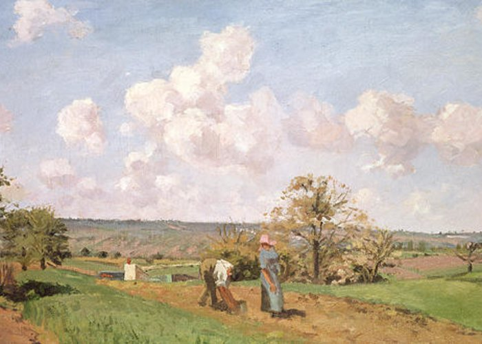 In The Fields Greeting Card featuring the painting In The Fields by Camille Pissarro