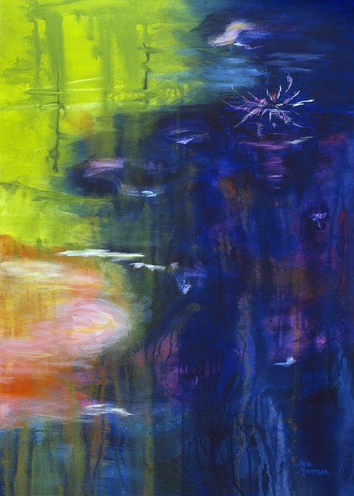 Abstract Greeting Card featuring the painting In The Flow by Tara Moorman
