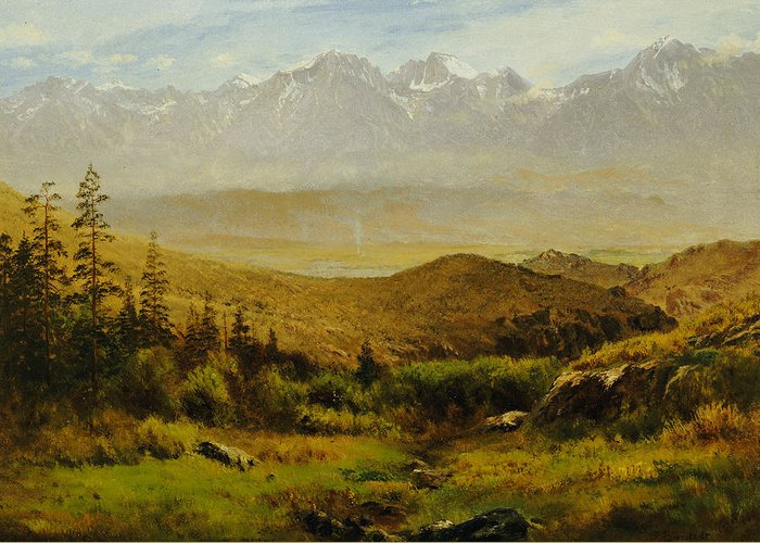 Albert Greeting Card featuring the painting In The Foothills Of The Rockies by Albert Bierstadt
