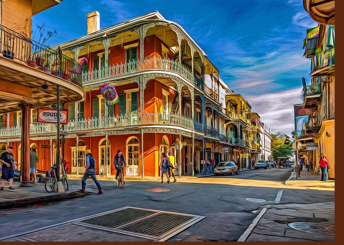 French Quarter Greeting Card featuring the photograph In The French Quarter - 2 Paint by Steve Harrington