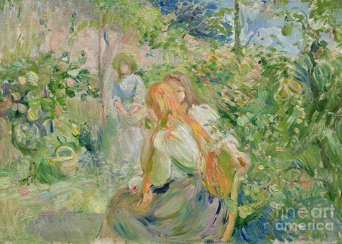 The Greeting Card featuring the painting In The Garden At Roche Plate by Berthe Morisot