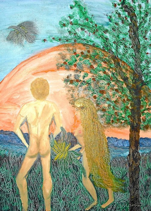 Creation Greeting Card featuring the painting In the Garden by BJ Abrams