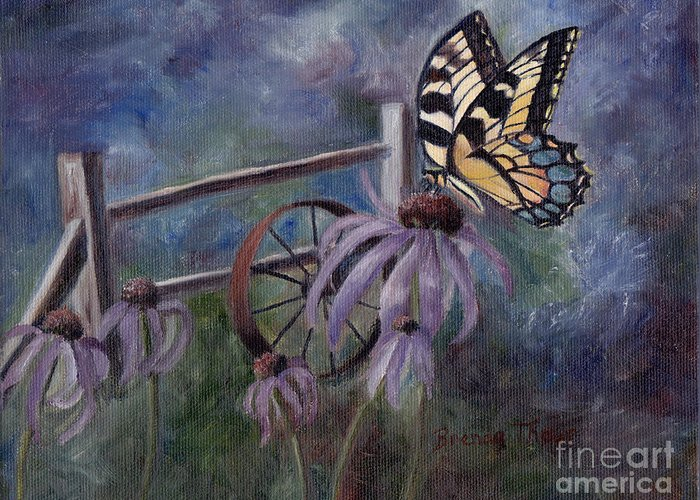 Butterfly Greeting Card featuring the painting In The Garden by Brenda Thour