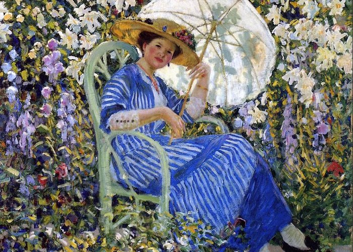 In The Garden Greeting Card featuring the painting In The Garden by Frederick Carl Frieseke
