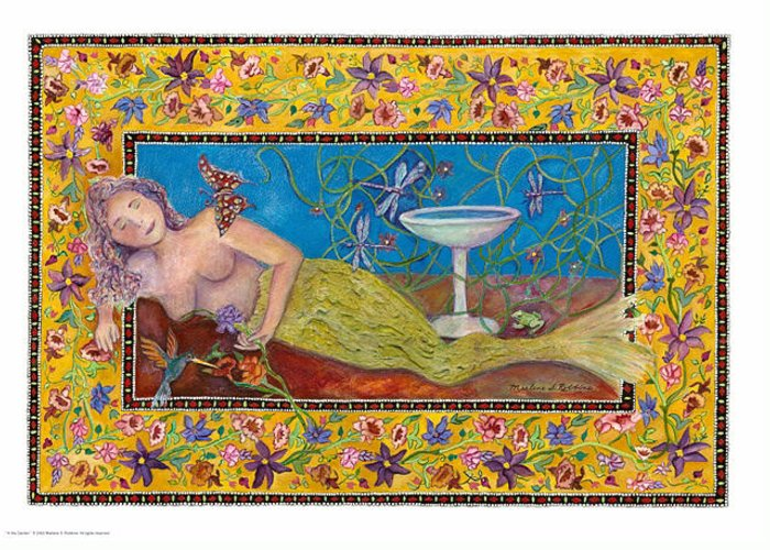 Mermaid Greeting Card featuring the painting In The Garden by Marlene Robbins