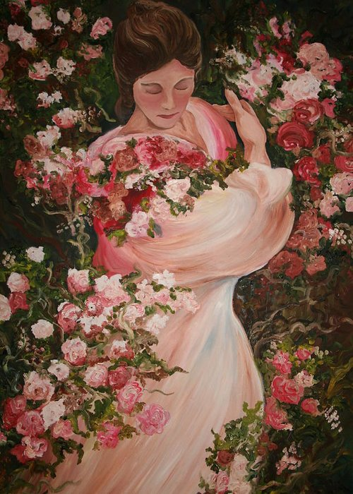 Roses Greeting Card featuring the painting In The Garden by Melissa Wiater Chaney