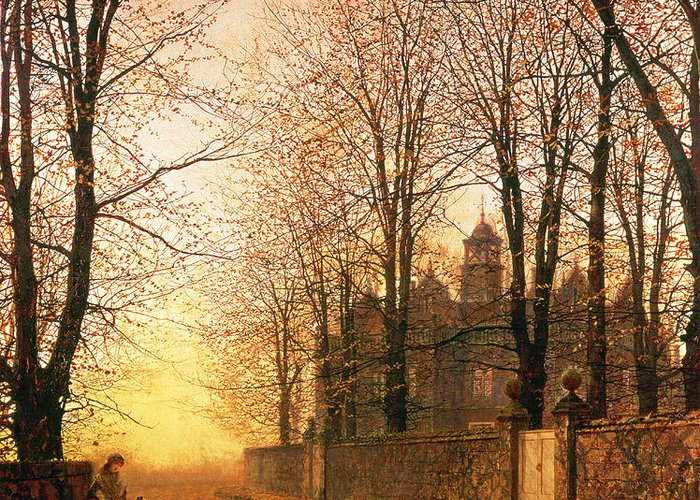 In The Golden Olden Time Greeting Card featuring the painting In The Golden Olden Time by John Atkinson Grimshaw