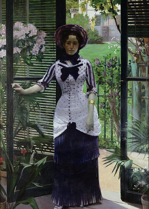 The Greeting Card featuring the painting In The Greenhouse by Albert Bartholome