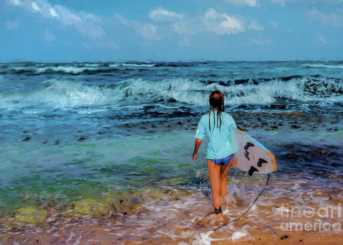 Women Greeting Card featuring the digital art In The Hope Of A Big Wave by Benjamin Gelman