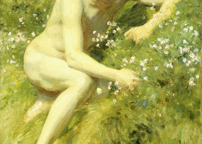 Countryside Greeting Card featuring the painting In The Meadow by Henry Scott Tuke
