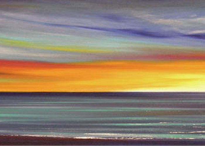 Sunset Greeting Card featuring the painting In The Moment Panoramic Sunset by Gina De Gorna