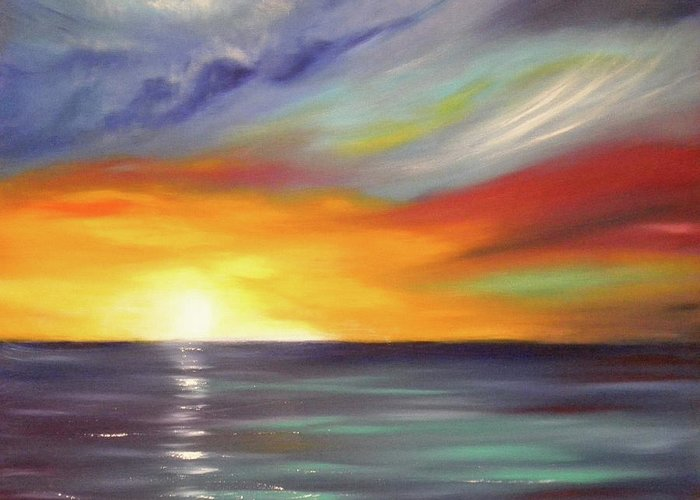Brown Greeting Card featuring the painting In The Moment Square Sunset by Gina De Gorna