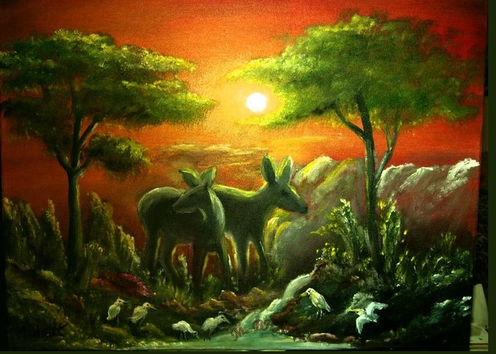 Wild Animals Greeting Card featuring the painting In The Morning Light by M bhatt