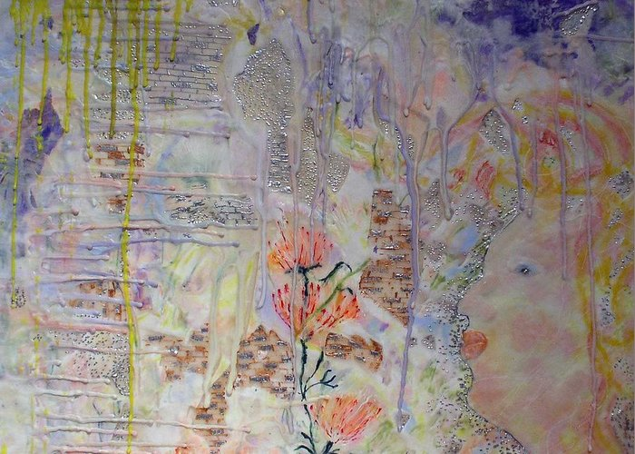 Abstract Greeting Card featuring the painting In The Now by Heather Hennick