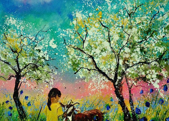 Landscape Greeting Card featuring the painting In the orchard by Pol Ledent