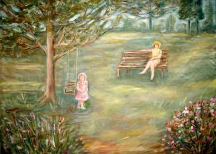 Women And Child In Park Portraits Greeting Card featuring the painting In The Park 1 Rev by Joseph Sandora Jr