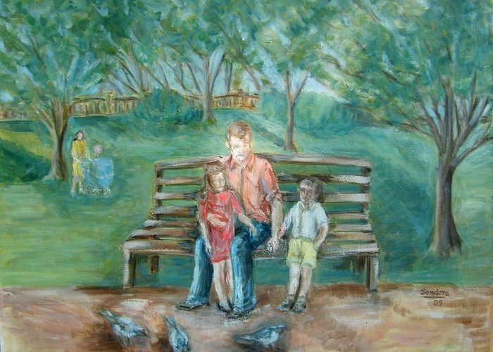 Landscape With People Greeting Card featuring the painting In The Park 2 by Joseph Sandora Jr