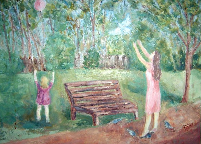 Landscape Greeting Card featuring the painting In The Park by Joseph Sandora Jr
