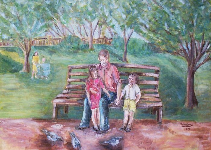 Landscape With People Portrait Park Pigeons Greeting Card featuring the painting In The Park Three by Joseph Sandora Jr