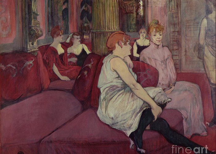 The Greeting Card featuring the painting In The Salon At The Rue Des Moulins by Henri de Toulouse-Lautrec