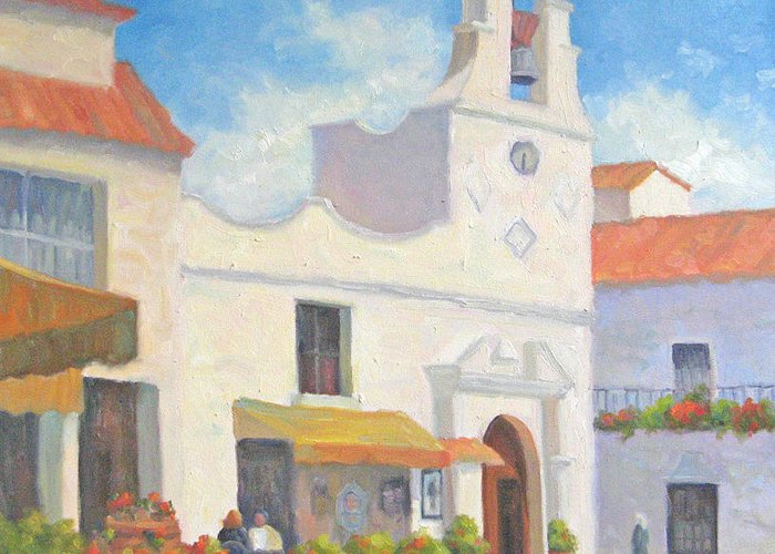 Church Greeting Card featuring the painting In The Shadow Of The Church by Bunny Oliver