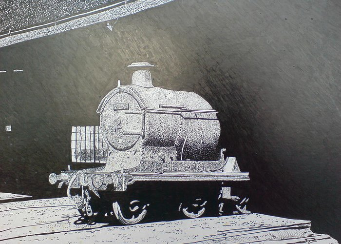 Steam Train Greeting Card featuring the drawing In The Shadows by Andy Davis