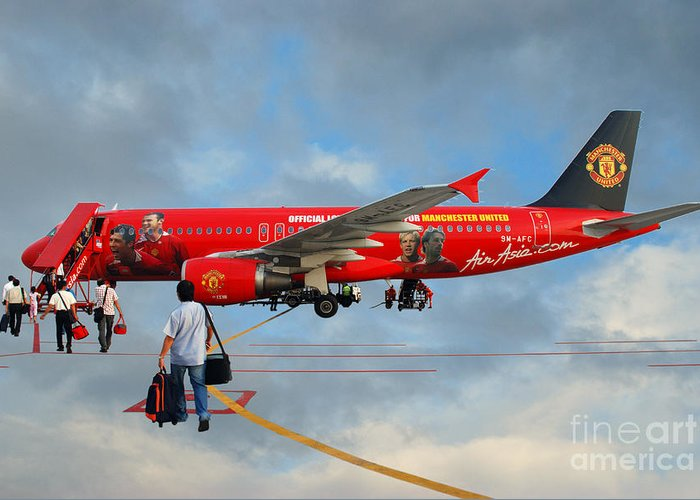 Photography Sky Airplane Passenger People Football Stars Greeting Card featuring the photograph In The Sky by Ty Lee