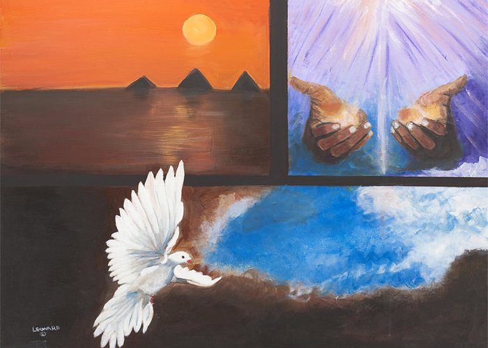 3 Images In One Trip Tick Greeting Card featuring the painting In the Spirit by Leonard R Wilkinson