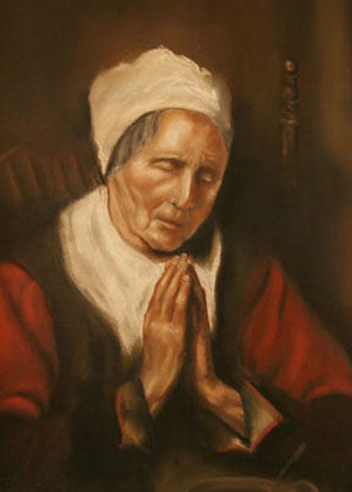 Portrait Greeting Card featuring the painting In The Style Of Old Woman Saying Grace by Addie Coppola