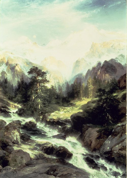 In The Teton Range Greeting Card featuring the painting In The Teton Range by Thomas Moran