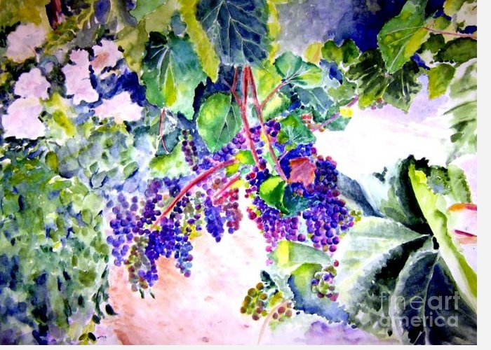 Napa Valley Greeting Card featuring the painting In The Vineyards by Sandy Ryan