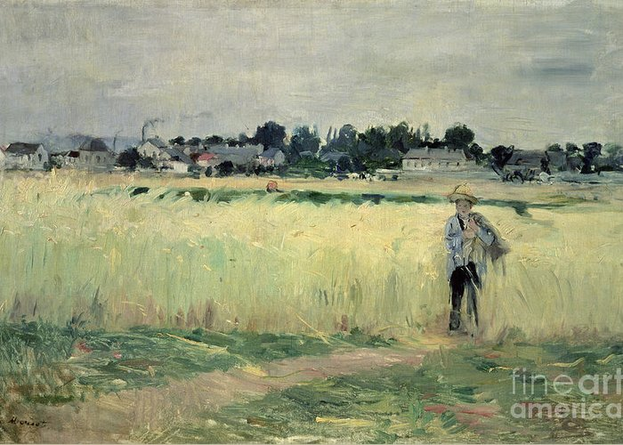 The Greeting Card featuring the painting In The Wheatfield At Gennevilliers by Berthe Morisot