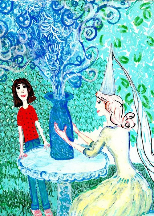 Sue Burgess Greeting Card featuring the painting In The White Lady's Cave by Sushila Burgess